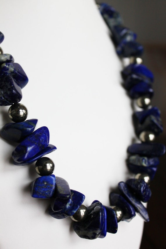 RESERVED for Yvette: Lapis and Pyrite Necklace