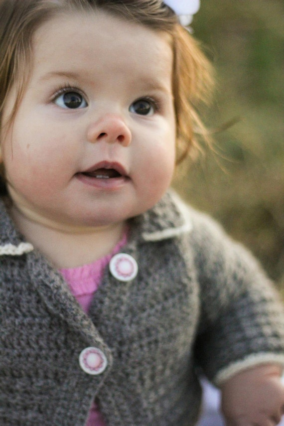 Baby Sweater Cardigan in Undyed Alpaca size 12-18 months Gray with Pink Flower Buttons