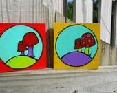 Mushrooms Art Block on Wood