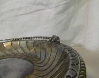 Victorian Meriden  Swirled Silver Compote / Bride's Basket