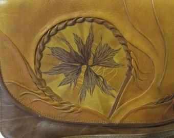 Sculpted Molded Leather Handbag Leaf Motiff, Suede lined