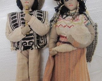 Creepy Vintage Handmade South American Mori Memento Dolls - Exquisite detail, glass bead jewelry