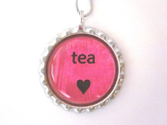 """Tea Infuser - Bottle Cap Charm - tea love - 2"""" Mesh Ball"""