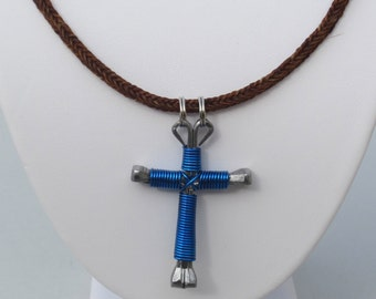 Horse Hair Necklace with Horseshoe Nail Cross