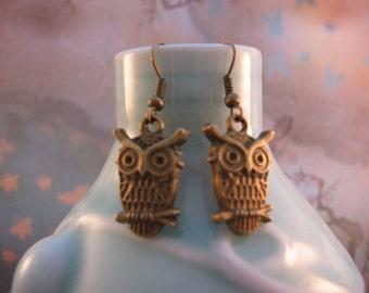 Clearance Sale Owl Earrings - Bronze Owl Charm Earrings, jingsbeadingworld inspired by nature, for her, gift under 10