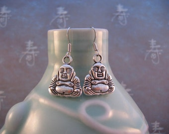 Happy Buddha Earrings - Antiqued Silver 3D Buddha Charms, Silver Plated Hook Earwires
