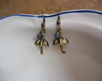 Rainy Day Umbrella Earrings - Antiqued Brass 3D Umbrella Charm, Tiny Raindrops, It's a rainy day