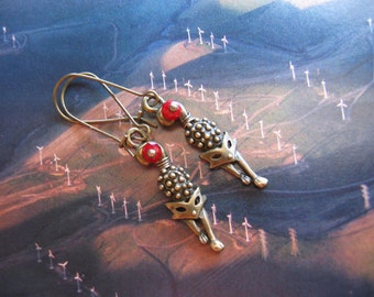 Signature Design - Fox Earrings - Antiqued Bronze Fox Charm, Faceted Ruby Crystal Rondelles, Kidney Earwires