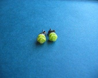 Dainty Rose Stud Earrings - Lime Green