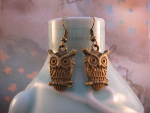 Owl Earrings - Bronze Owl Charm Earrings