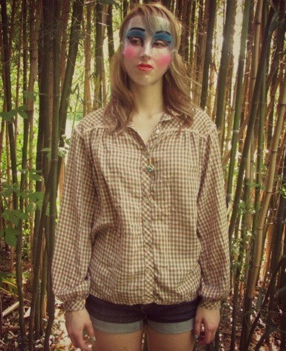 Vintage 60's 70's Brown Checkered Lace Fringe Collar Blouse