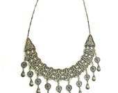 925 Sterling Silver Ethnic Filigree Chandelier Necklace - ID218