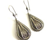 Sterling Silver, Drop, Filigree, Ethnic Earrings - ID1021