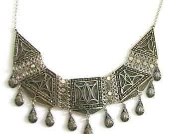 Ethnic, Chandelier Necklace, 925 Sterling Silver, Artisan, Filigree Women Jewelry  - ID216