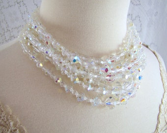 Luminosity- Statement Necklace- Vintage Upcycled Refashioned Aurora Borealis and Pearl Necklace- Bridal Necklace, One-of-a-Kind