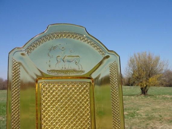 Rare 1800s Amber Glass Bread Tray
