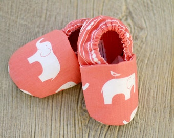 0 3 6 12 18 month Coral Pink Elephant Organic Handmade Baby Shoes  - Eco Friendly Children's Clothing Booties- Baby Clothes