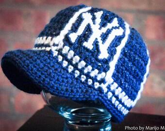 New York Yankees Inspired Crocheted Baseball Cap (Newborn - Children Size) (Made to Order)