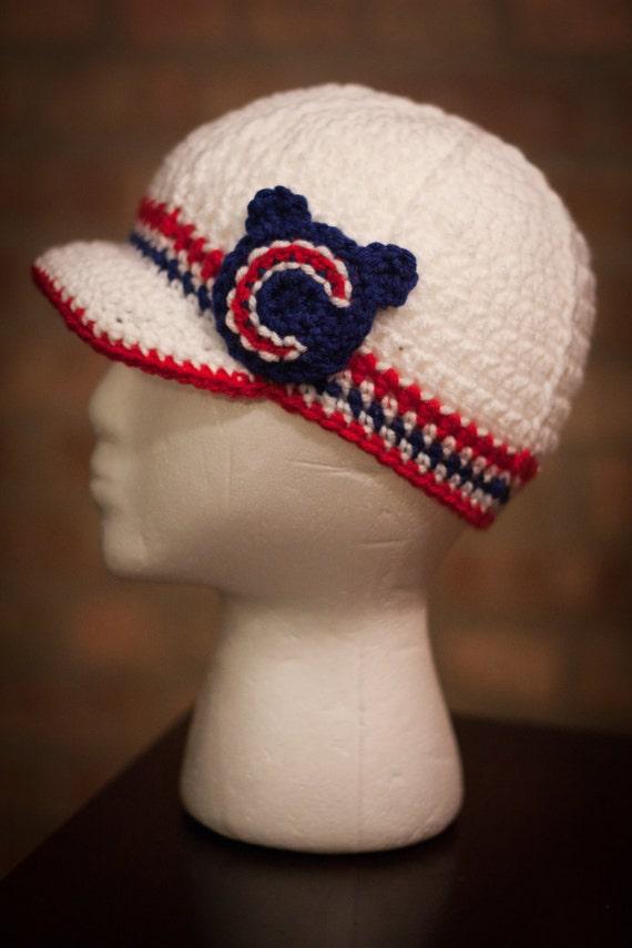 Chicago Cubs Inspired Crocheted Baseball Cap Teen Adult