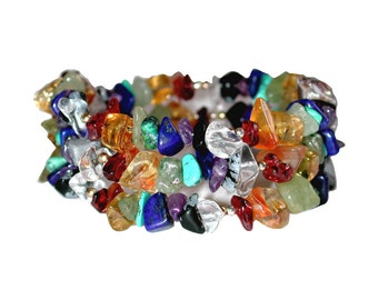 Rainbow Chip Chakra  Coil Bracelet