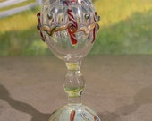 Hand blown tall stem mini vase, Lattachino decorated, silver fumed