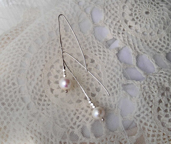 White Pearls Earrings, Natural Freshwater Pearls, Hand Forged Silver Drops
