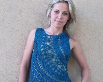 Crochet Pattern PDF - Galactic Orbits Top - sizes XS to XL - crochet doily round top pattern - boatneck circle tank top pattern