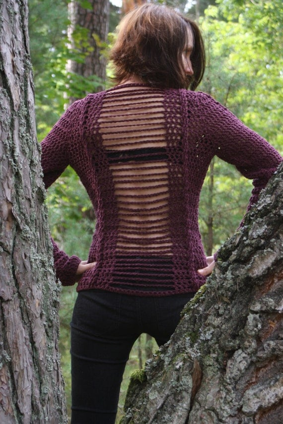 Crochet pattern PDF - Cabled Sweater - sizes XS to L - Crochet Sweater Pattern instant download