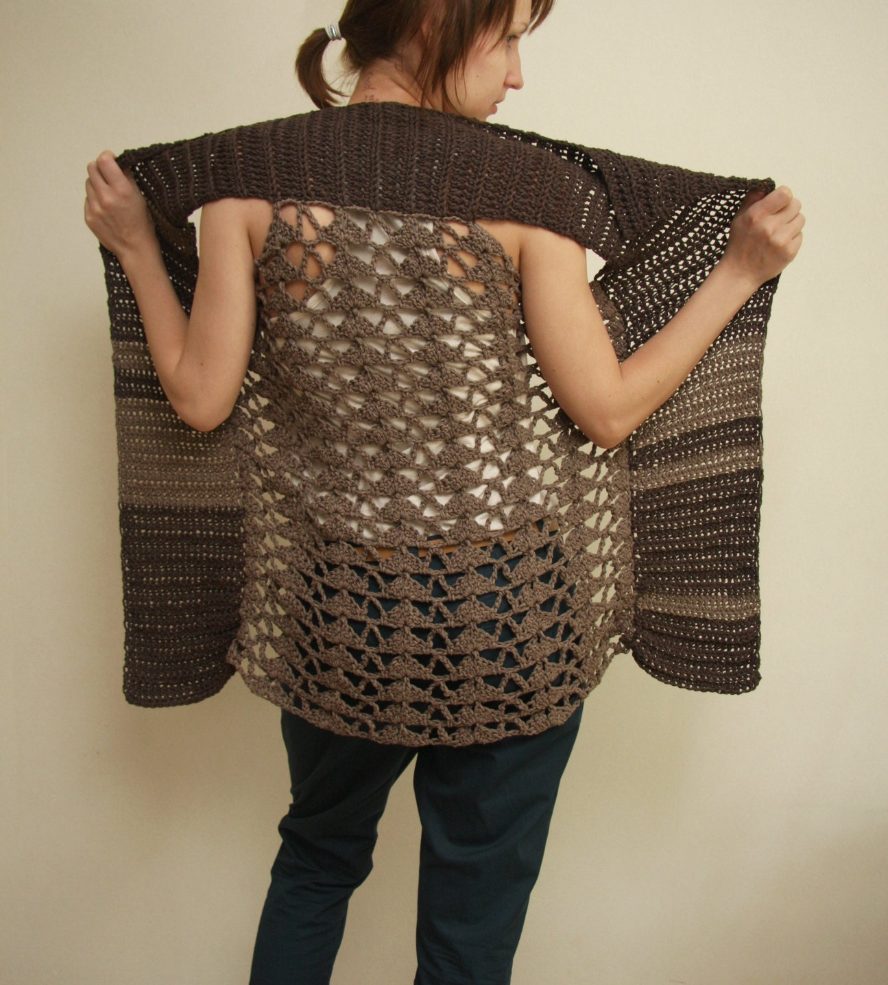 Free Crochet Patterns For Long Vests : Crochet Pattern PDF Splinter Vest sizes XS to 2XL
