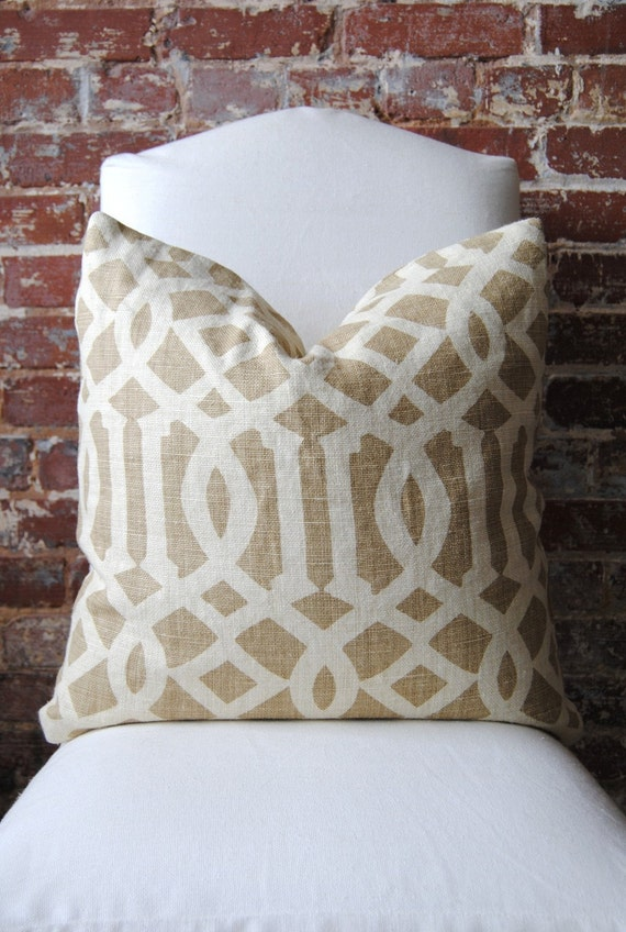 SALE - Last One - Imperial Trellis - Schumacher - Toast - Pillow Cover - 20 in square - Designer Pillow - Decorative Pillow - Throw Pillow