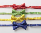 Little Boy Bow Ties - Red, Green, Yellow, or Blue Plaid