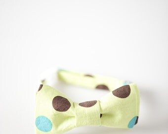 Toddler Bow Tie - Green with Brown and Blue Polka Dots