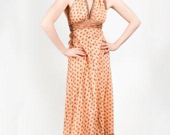 peach halter 70s dress