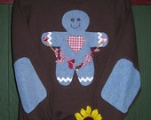 Gingerbread Boy Sweatshirt, Sizes S-5X,Plus Sizes, Christmas, Winter,Elbow Patches Upcycled Denim,Recycled Clothing