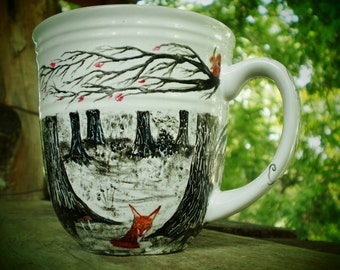 The Forest Coffee Mug -(Made to Order) - fox mugs - owl mugs - woodland art - cute woodland - coffee gifts - coffee lovers - forest