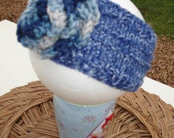 Wide Headband  Hand Knit  Crocheted   Flower Ear warmer   School time, school headband