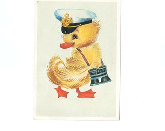 VINTAGE Post card from Russia Soviet Union Captain Goose Children Multicolor Fine Art Vintage by DILMA