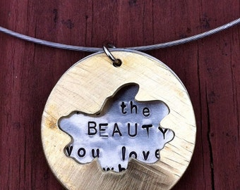 Hidden Messages RUMI Let the Beauty you love brass silver hand stamped hand sawed texturized large circle mod necklace