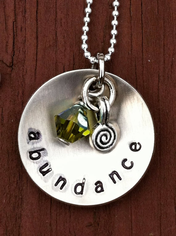 ABUNDANCE hand stamped necklace swarovski crystal and spiral dangle on sterling silver