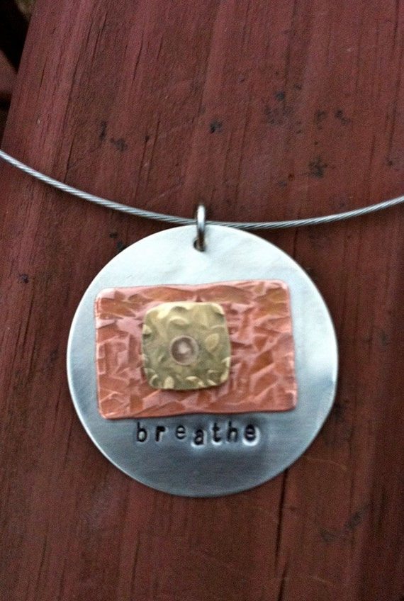 BREATHE recovery message mixed metals hand stamped texturized large circle hipster necklace