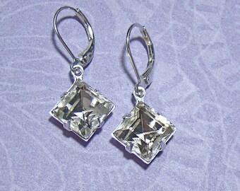 Rhinestone Earrings Vintage Diamond Cut Crystal Rhinestones Modern Leverback Earrings Anniversary Gift Idea Wedding Prom Everyday Fashion