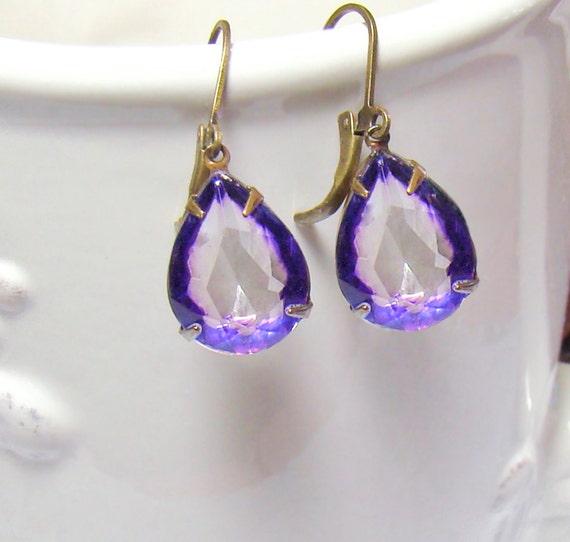 Rhinestone Earrings Lavender Purple Earrings Rare Vintage Amethyst Glass Rhinestone Earrings Dangle Earrings Gift Idea