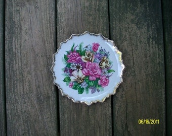 Cottage Chic Pink Roses on White with Gold Edge Floral Plate, Decorative Plate