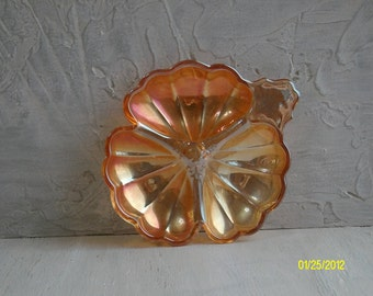 Marigold Carnival Glass Shamrock Shape Candy Dish, Mid Century Collectible Glass Shamrock