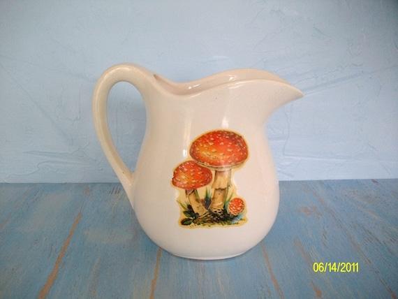 USA Pottery Orange Mushrooms on White Vintage Ironstone Pitcher, Retro USA Pottery, Mushrooms