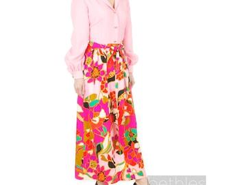 1960s Dress Maxi Dress Long Dress Pink Floral Dress Long Sleeve Dress Vintage 60s Hostess Gown Lounge Dress Belted Dress Light Pink Dress