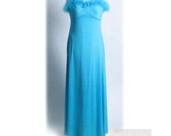 1970s Dress Blue Dress Teal Dress Blue Gown with Marabou Neckline Vintage 70s Blue Maxi Dress Sleeveless Dress