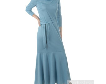 1960s Dress Blue Gown Blue Dress Maxi Dress Light Blue Flared Skirt and Cowl Neckline Vintage 60s Belted Dress