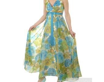 1960s Blue Dress Summer Dress Blue Floral Dress Blue Chiffon and Satin Dress  Vintage 60s Floral Maxi Dress Garden  Blue Floral Dress