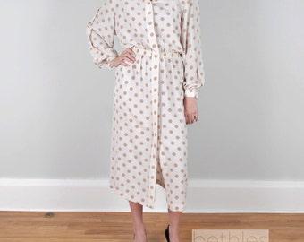1970s Dress Shirt Dress White Tan Polka Dot Dress by Rouie Vintage 70s Brown and White Dress New Dress  with Tags Size 14  Secretary Dress